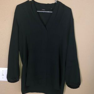 Theory green silk blouse top M